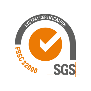 SGS seal FSSC 22000: Certification of production processes and environment as well as product safety based on ISO standards and HACCP guidelines.
